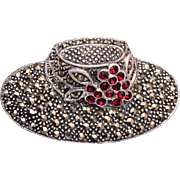 Sterling and Marcasite Hat Brooch
