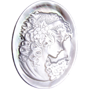 White Mother of Pearl Cameo Brooch