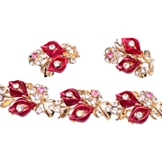 Red Lucite and Pink Rhinestone Set