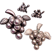 Mexico Sterling Grape Cluster Brooch and Earring Set