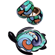 Eisenberg Enameled Turtle Brooch and Earring Set