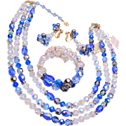Vendome 3 Strand Blue Crystal and Rhinestone Set