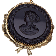 Black Glass Intaglio Cameo Pendant or Brooch