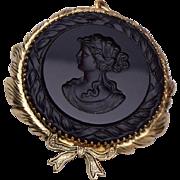 Black Glass Intaglio Cameo Pendant or Brooch