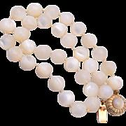 Ciner Mother of Pearl Tied In Between Necklace