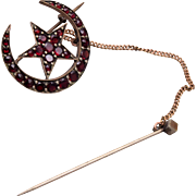 Bohemian Garnet Crescent Moon and Star Brooch