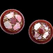 Bakelite Earrings with Mother of Pearl