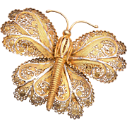 Silver Filigree Butterfly Brooch