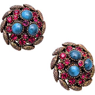 HAR Fuscia Rhinestone and Blue Cabochon Earrings