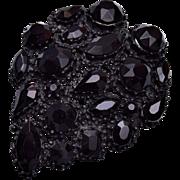 Weiss Black Rhinestone Brooch