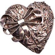 Hobe' Sterling Heart Brooch