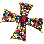 Weiss Colorful Maltese Cross Brooch