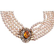 Miriam Haskell Pearl Choker Necklace