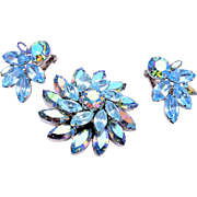 Weiss Light Blue Rhinestone Brooch and Earring Set