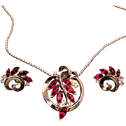 Trifari Patent Pending Red Stone Necklace and Earring Set