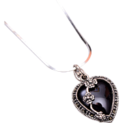 Sterling Marcasite and Onyx Heart Pendant Necklace