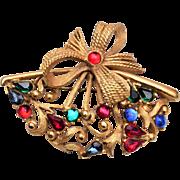 Hattie Carnegie Colorful Fan Brooch