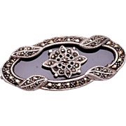 Sterling, Onyx and Marcasite Brooch