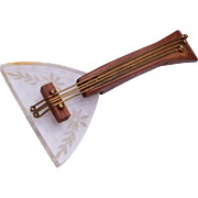 Reverse Carved Lucite and Wood Mandolin Brooch