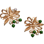 Sarah Coventry Pair of Faux Pearl and Green Glass Brooches
