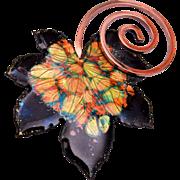 Matisse Renoir Autumn Leaf Enameled Brooch