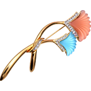 Piscatelli Blue and Coral Molded Glass Brooch
