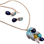 Blue Enamel and Glass Dangle Necklace and Earring Set