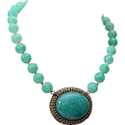 Jade and 800 Silver Filigree Necklace