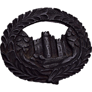 Carved Gutta Percha Carved Castle Brooch