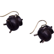 Carved Bog Oak Kettle Pierced Earrings