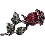 Swarovski Rhinestone Rose Brooch