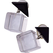 Lucite Ice Cube Pierced Earrings