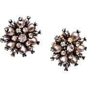 Alice Caviness Faux Pearl and Rhinestone Earrings
