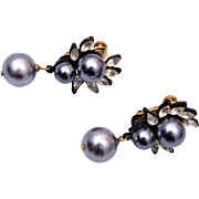 Patent Marked Faux Pearl and Rhinestone Earrings