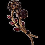 Made in Czechoslovakia Garnet Flower Brooch