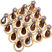 Vendome Diamond Shaped Brooch with Dangling Crystals
