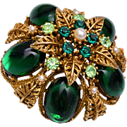 ART Green Domed Brooch