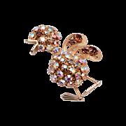 Weiss Rhinestone Baby Duck Brooch