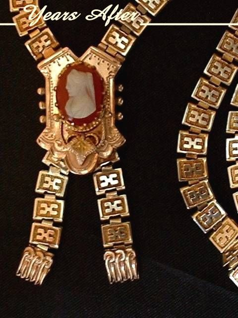 MAGNIFICENT Carved CAMEO Antique Victorian Necklace BOOKCHAIN Gold Filled Engravings & Repousse c.1860's!