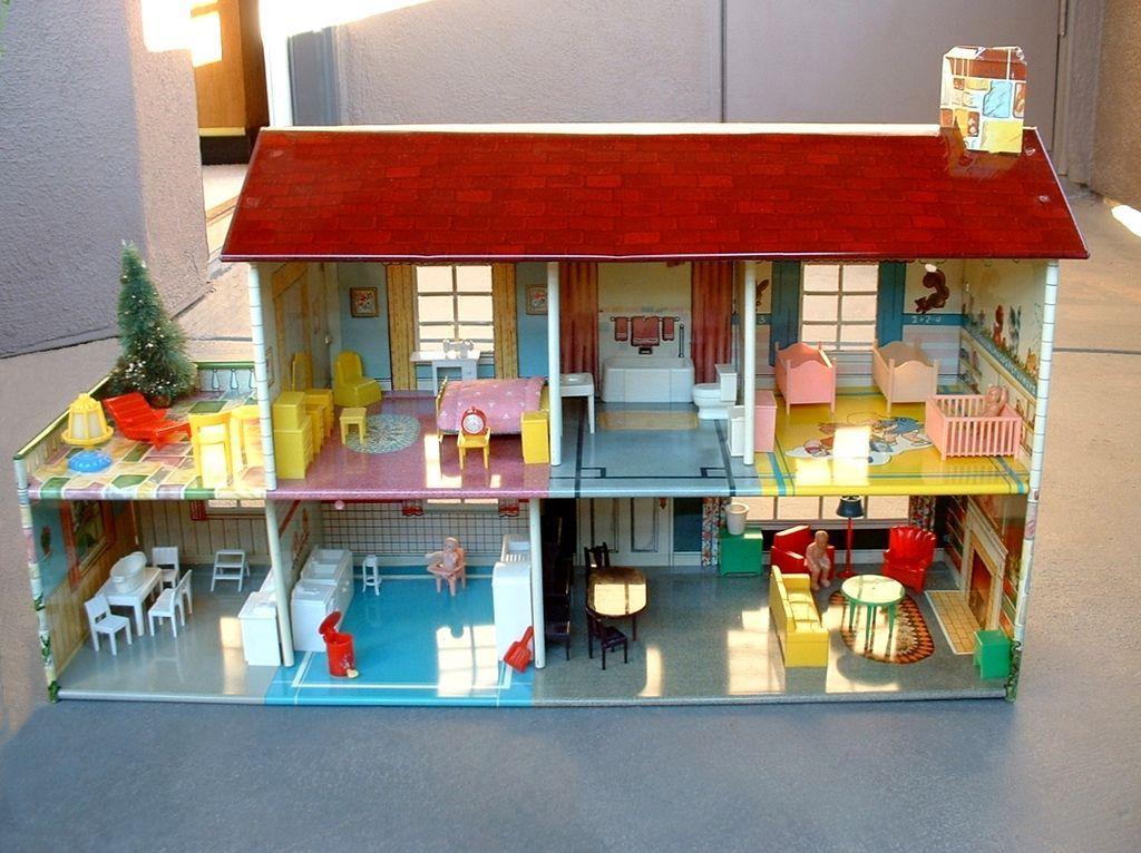Vintage Marx Tin Litho Doll House Dollhouse 51 Pieces