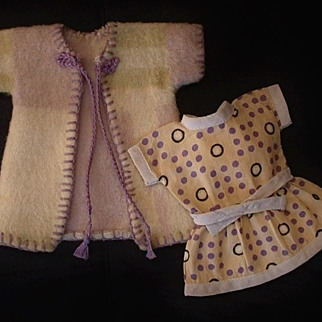 "Vintage Mignonette DOLL Clothing American Indian Wool Navajo Blanket COAT Feed Sack DRESS 7""- 8"" Miniature Dolls c.1920's!"