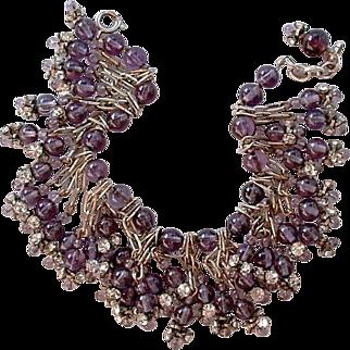 Vintage Charm BRACELET Amethyst Glass CLEAR Rhinestone Beads c.1950's!