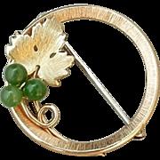 Signed KREMENTZ Vintage JADE BROOCH Gemstone Gold Overlay Grapevine - MINT c.1950's