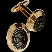 SIGNED Vintage Mens CUFFLINKS 12K Gold Filled INTAGLIO Black Glass Hallmarked c.1940's