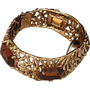 SIGNED Vintage Clamper WATCH Bangle Bracelet 17 Jewel Swiss Mechanical Windup Wristwatch TOPAZ Rhinestones c.1960s