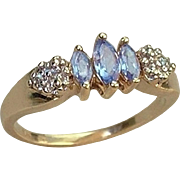 Vintage 10K GOLD Diamond TANZANITE RING Promise, Engagement or Birthstone Ring Hallmarked Size 6