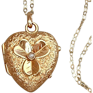 14K GOLD Antique HEART Victorian LOCKET Seed Pearl, Lucky SHAMROCK, Rock Crystal Covers, 14K Chain c.1870s