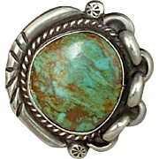 LARGE Vintage Native American OLD PAWN Navajo RING Turquoise Sterling Silver 14.5 Grams Size 9