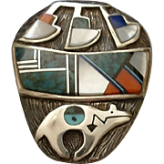 RARE Vintage Native American Sterling NAVAJO Brooch Overlay, Inlay MOSAIC Turquoise, Lapis, Spiny Oyster Pottery BEAR Fetish Hallmarked
