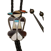 LARGE Vintage ZUNI Native American BOLO Tie Turquoise, Coral, Pen Shell, Pearl STERLING Silver Thunderbird Bola and Tips BENNETT Clip